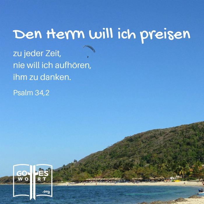 Preise den Herrn, allerzeit! Psalm 34,2 Kuba Strand