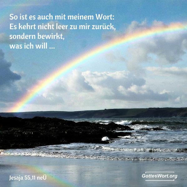 So ist es auch mit meinem Wort: Es kehrt nicht leer zu mir zurück, sondern bewirkt, was ich will, und führt aus, was ich ihm aufgetragen habe.  Jesaja 55,11
