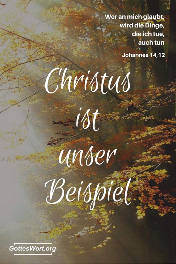 Wer an mich glaubt, wird die Dinge, die ich tue, auch tun … Jesus. Johannes 14,12 …. Christus ist unser Beispiel!