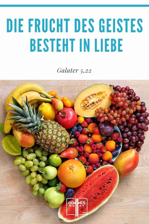 Die Frucht des Geistes vom Galaterbrief sind die vorgeschriebenen Eigenschaften, die in unserem christlichen Leben erkennbar sein sollten.Die Frucht des Geistes aber ist Liebe ...