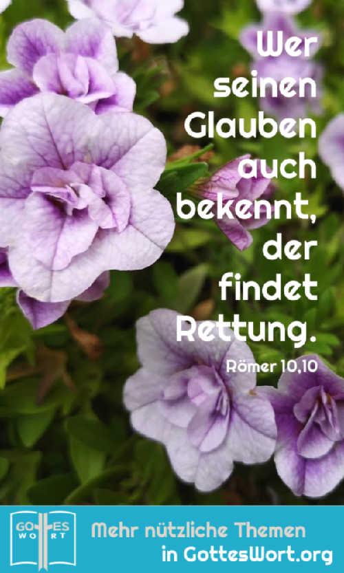Wer also von Herzen glaubt, wird von Gott angenommen; und wer seinen Glauben auch bekennt, der findet Rettung. Römer 10,10
