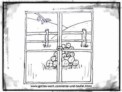 Gottes Wort: Die Ente und der Teufel ... Geschichte der Vergebung. Fenster & Holzhaufen
