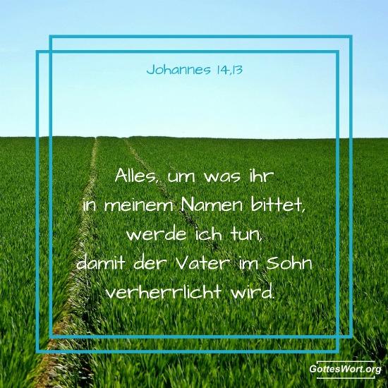 Alles, um was ihr in meinem Namen bittet, werde ich tun, damit der Vater im Sohn verherrlicht wird.  Johannes 14,13