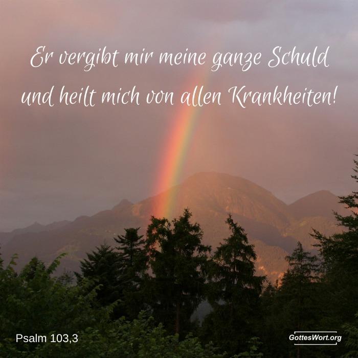 Ja, er vergibt mir meine ganze Schuld und heilt mich von allen Krankheiten! Psalm 103,3