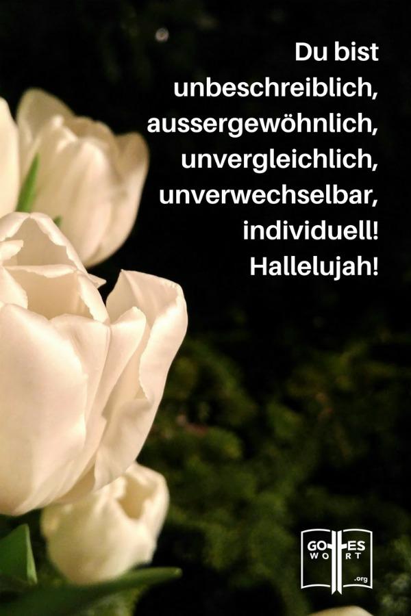 Du bist einmalig! Du bist unbeschreiblich, außergewöhnlich, unvergleichlich, unverwechselbar, individuell!  weisse Tulpen